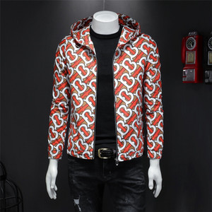 Hooded Print Jackets Standing Collar Men's Thin Coats Outdoor High-grade Windproof Warm Designer Jackets Free Shipping
