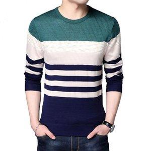Mens dünne Pullover neue Art und Weise Pullover Slim Fit Pullover Strick Striped Herbst-Winter-Freizeitbekleidung Male Tops