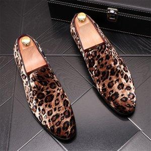 Men Loafers Leopard Print Men Casual Shoes Leather Slip On Shose Men 5#20 20E50
