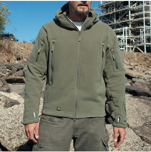 Homens Exército Americano Inverno térmica Jaqueta de lã Tactical Brasão Militar Softshell caminhadas ao ar livre Casacos militares Ao ar livre Esportes com capuz