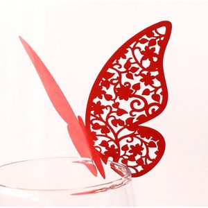 10PCS Butterfly Card Hollowing Wine Glass cup Table Laser Seat Insert Wall Sticker Decorative for Party Wedding Home Feat