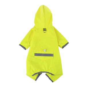 Dog Raincoat Adjustable Pet Water Proof Clothes Lightweight Reflective Dog Trench