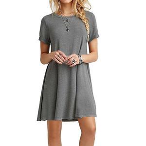 DHL женская летняя шею повседневная футболка платья с коротким рукавом качели обычная простая футболка свободная платье