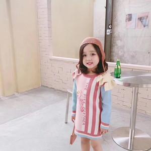 새로운 도착 아기 소녀 드레스 겨울 핑크 스웨터 드레스 어린이 의류 따뜻한 치마