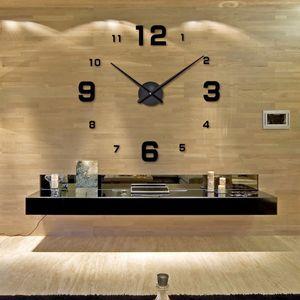 2019 muhsein large DIY Wall Clock Acrylicl Mirror digital clock 3D wall clock Personalized Digital Wall Clocks Free shipping Y200110