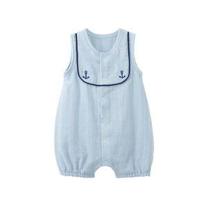 Pureborn Newborn Cotton Sailor Clothes Summer Travelling Romper for Boys Snap Front Baby Jumpsuit Pajamas T200706
