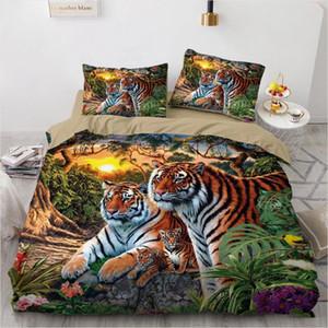3D letto di nero Duvet Quilt Cover Set Consolatore Lenzuola federa Re Regina 180x210cm Dimensioni Animal Tiger disegno stampato