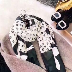 Bahar ve yaz moda kadın eşarp yumuşak ve hafif şifon şal marka baskılı dekoratif eşarp büyük boy 190 * 80