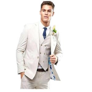 2019 nuevos hombres de moda de trajes para la boda Un botón Slim Fit 3 Piezas (Jacket + Vest + Pants) el novio de baile smokinges informal