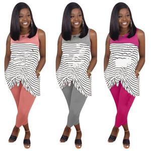 Plusgröße 3X Sommerfrauen Marke zweiteiliger Satz Modeschöpferin Sportanzug sleeveless T-Shirt Kleid + Hosengamaschen beiläufigen Streifens Outfits 2968