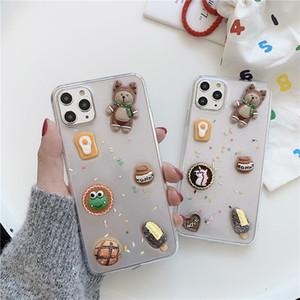 Cartoon ours bonbons Icecream colle époxy Cellphone Gel cas pour l'iPhone 11 Pro Max 7 8 Plus X XR XS Max