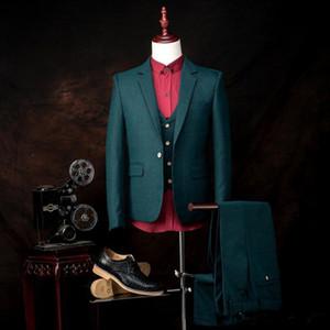 Nueva alta calidad novio esmoquin muesca solapa de los padrinos Volver Vent mejor juego del hombre / novio / de la boda / baile / Trajes Cena (jacket + pants + vest) 4141
