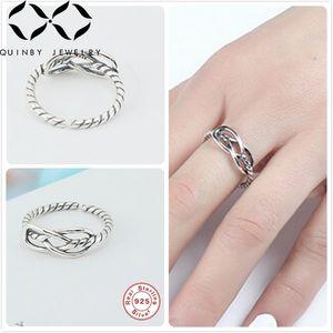 Real 925 silberne Ringe für Frauen Twist-Kabel-Linie Ringe Mädchen justierbarer Finger weiblich Minimalism Cross Line anillos Q5
