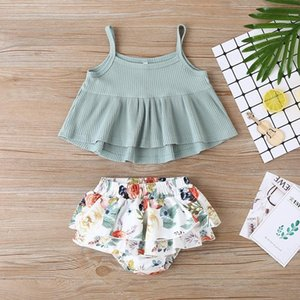 Gilrs Braces Tops+Floral Pants Outfits Summer 2020 Kids Boutique Clothing Little Girls Rib Tops Trousers 2 PC Set