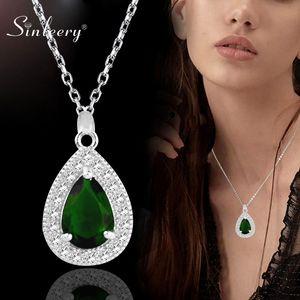 Cadeia SINLEERY verde elegante Blue Crystal Teardrop Colar Pingentes Senhora Cor Prata Ligação da festa de casamento Jóias XL159 SSB
