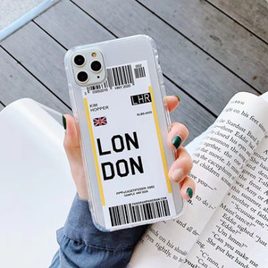 Air Ticket Phone Case For iPhone 11 Pro Max xr Country London Paris Tokyo New York Houston Chicago Creative Transparent Soft TPU Cover