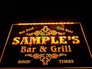 DZ058- Name Personalized Custom Family Bar & Grill Beer Home Gift Neon Sign hang sign home decor crafts