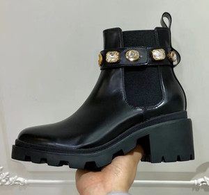 Hot Sale-Women Chunky Heel Work Tooling Shoe fashion Western Crystal Bee Star Desert Rain Boots Winter Snow Ankle Martin Boots