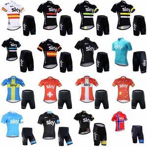 2020 Sky Team Cyclisme à manches courtes Jersey Shorts Ensembles 2020 Costumes vélo Vêtements avant séchage rapide Fermeture à glissière Wearable respirante 012501f