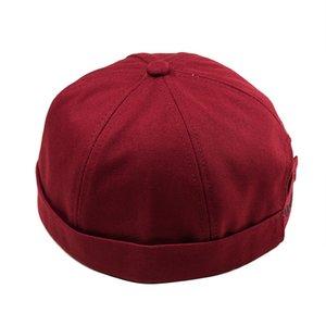 Solid Colors Retro Men Headgear Women Hat Casual Docker Sailor Mechanic Woman Cap Brimless Hemming Hat Breathable Adjustable Hat
