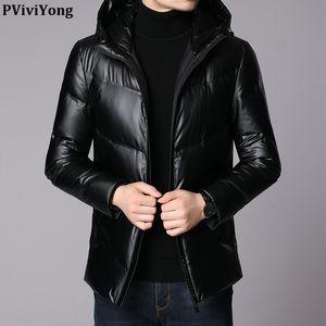 PViviYong 2019 Winter высокое качество 90% белая утка вниз куртка с капюшоном короткий параграф пальто мужчин с черного цвета ленты Q8299F