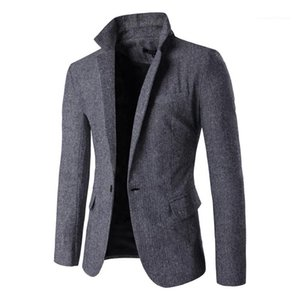 Coats Lapel Neck Fall Fashion Slim Solid Color Men Blazers With Button Man Outerwear Coats Mens Casual Blazers