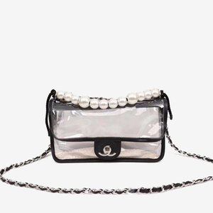 New Leather shoulder fashion with jelly bag trend transparent small bag pearl leather lady bag