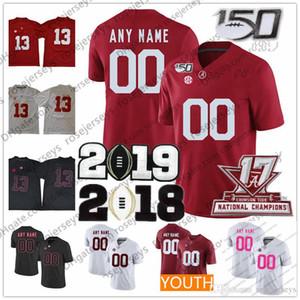 Customized Alabama Crimson Tide # 72 Pierce Breve 73 Evan Neal 10 Mac Jones 88 Maggiore Tennison 2019 150 ° Rosso Nero Rosa Jersey 4XL