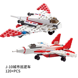 Kid toy 80+pcs J-10 & J-13 the city cruiser plane series block toy for child block gift 06
