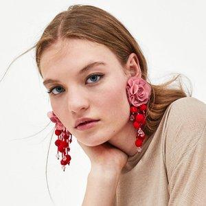AOTEMAN 2019 Hot Venda Moda Flor Marca longo Dangle Brincos na moda Pom Pom Acessórios Tassel Brincos jóias étnicas