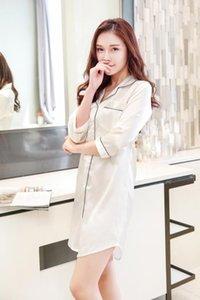 simulación de la sede camisa de solapa cuello verano de las mujeres del camisón atractivo de la versión coreana suelta delgadas de siete minutos pijama de manga chaqueta de punto