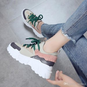 Hot Sale-New Women's Sneakers Height Increase Woman Thick bottom Casual shoes Breathable Lace-up Lightweight Black Women Shoes