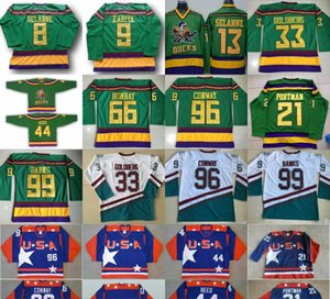 Jersey de película 1996-06 Anaheim Mighty Ducks 33 Greg Goldberg 66 Gordon Bombay 96 Charlie Conway 99 Adam Banks 21 Jersey de hockey Dean Portman