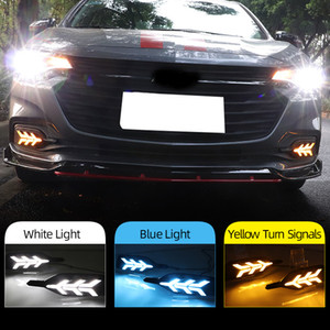 2 шт. DRL для Chevrolet Monza 2019 2020 Светодиодный дневной подъемный противотуманный противотуманный фонарь желтый поворот сигнал