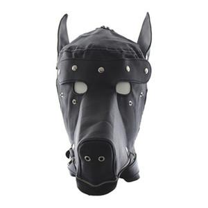 Masquerade Mask pelle maschera Gimp cappuccio cane bocca piena festa in maschera di Halloween maschera farcito R0668