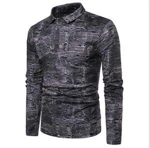 Polos Mens Designer Hole Suit Fit Clothing Mens Long Sleeve Patchwork Casuak Polos Mens Contract Color