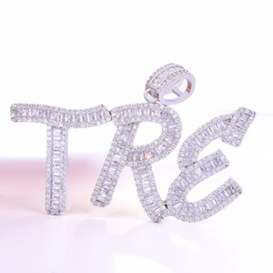 Men's Jewelry Zirconia Out Letters Pendant Ice Custom Name Baguette With Rope Chain Gold Silver Zircon Bling Hip Hop Cubic Cbroq