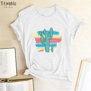 Harajuku Mode graphique T-shirts femmes de couleur Cactus T-shirt Slim Fit mignon filles T-shirts T-shirts Tops été cadeau pour le polyester Girlfriends