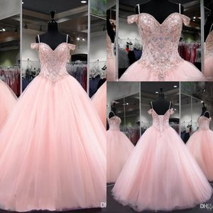 Sexy Pink Ball Gown Quinceanera Dresses Crystal Beaded Sweetheart Spaghetti Straps Backless Sweet 16 Puffy Party Pageant Prom Evening Gowns