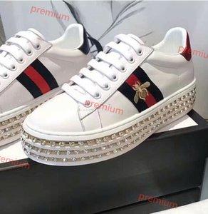 shoes дизайнер кроссовки обувь Мода роскошные дизайнерские женские туфли высокая платформа зашнуровать туз кожа с хрустальным дном обувь работает
