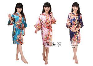 2-14 anos bebê meninas Silk Kimono Robe Pijamas Nightdress Pijamas quebrados Flor Kimono Roupa Interior crianças peônia crianças camisola pjms