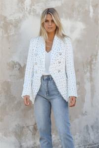 Женской Дизайнер Plaid Printed Blazer Luxury Womnens отворот шея куртка Женских тонкий костюм с двубортным