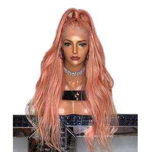 Sintética del frente del cordón pelucas rosa Wave sin cola ondulada larga de melocotón rosado de alta temperatura de fibra lacefront peluca para mujeres Negro