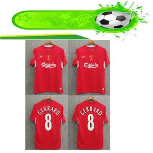 Liverpool 2004 Final Istanbul Retro Soccer Jersey # 8 Gerrard Steven 2005 Smicer Alonso Hamann Champion Camisetas de fútbol Vintage Calcio MAGLIA Maillot