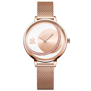 Shengke циферблата Lady часы платье Наручные часы Оригинальный дизайн кварцевые наручные часы Творческий кварцевые часы наручные часы Ultra Thin