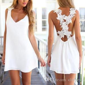 Europa y los Estados Unidos nuevas mujeres V cuello de nuevo de vuelta Mini playa del verano del vestido de encaje cruz falda S1 al por mayor