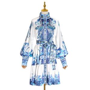 TWOTWINSTYLE vintage posters Hit vestidos de colores para la hembra del collar del soporte de la linterna de manga larga de talle alto vestido con pliegues Mujeres 2019 Tide