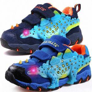 Dinoskulls zapatos de los niños dinosaurio 3D de luz a los varones, las zapatillas de deporte 2020 LED terciopelo Childrens Formadores brilla Tenis Big Boy Zapatos e4CG #