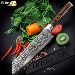 부엌 칼 (7) 0.5 인치 7cr17 440C 요리사 칼 스테인레스 스틸 모조 다마스커스 고기 클리버 슬라이서 토쿠 4 조각 도구 세트