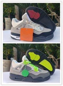 Nouveau 4 iv néon gris vert hommes de basket-ball chaussures de sport sneakers 4S formateurs en plein air Pas Cher Haute qualité avec la boîte taille 7-13